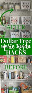 Dollar Tree Marie Kondo Hacks to use through out your home to save money while decluttering and organizing your home