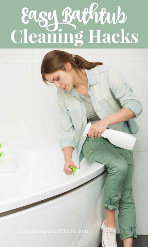woman scrubbing bathtub