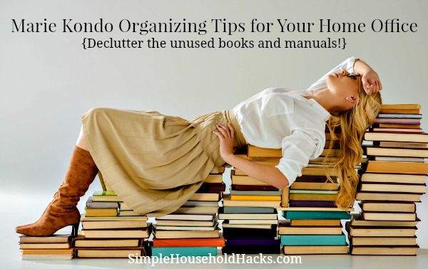 Marie Kondo organizing tips for your home office - declutter unused books and manuals.