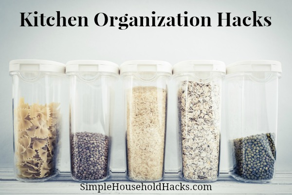 Use Clear Containers to Store Items to keep kitchen cupboards organized.