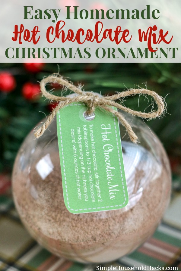 Hot Chocolate Mix Ornament with printable tag attached with twine