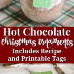 homemade hot chocolate mix ornament tutorial with recipe and printable gift tags
